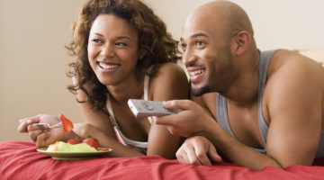 Couple Bed TV Food be present in your marriage